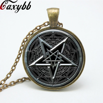 Black pentagram glass Pendant Necklace charms personality Wiccan Jewelry Occult necklaces pendants FTC-N159