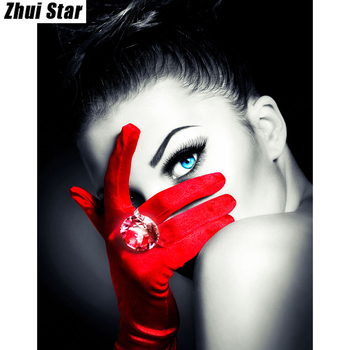 "Zhui Star Diamond Painting Full Square Diamond ""Gem woman"" 3D Embroidery Cross Stitch Rhinestone 5D DIY Painting wallpaper Decor"