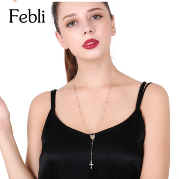 Febli Cross Shape Pendant Necklace Halloween Gift Gold Color Silver Color Pendeloque Long Fund Clavicle Necklace