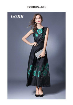 2017 Newest Summer Fashion Brand GORB Women Sleeveless Print Dress Ladies O-neck Long Slim Dress G6078