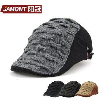 2017 Autumn And Winter Flange Wool patchwork Peaked Cap All-match Korean Wave Mem and Women visor Hats 8115