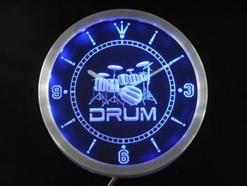 Nc0406-b Bant Odası Drum Rock n Roll Music Neon Sign LED Duvar Saati