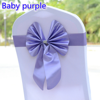 Baby purple colour lycra chair sash spandex bow tie stretch ribbon band for wedding decoration self tie ready made chair sash