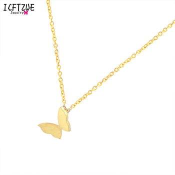 DIANSHANGKAITUOZHE 10pcs Butterfly Stainless Steel Necklace Gold Colour Silver Pendant Chain For Women Ketting Bridesmaid Gift