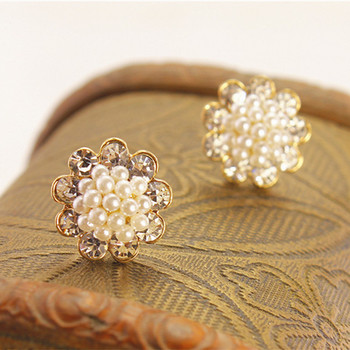 Cute Compact Pearl Ear Stud Women Lady Girls Ball Fashion Alloy Crystal Rhinestone Earrings Chic Gift HOT Jewelry E263